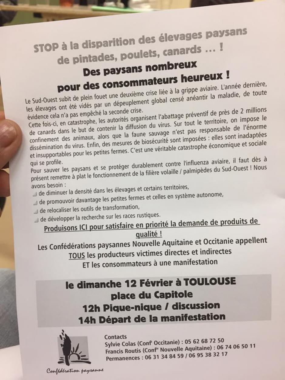 Grippe Aviaire. Réunion de Virac.