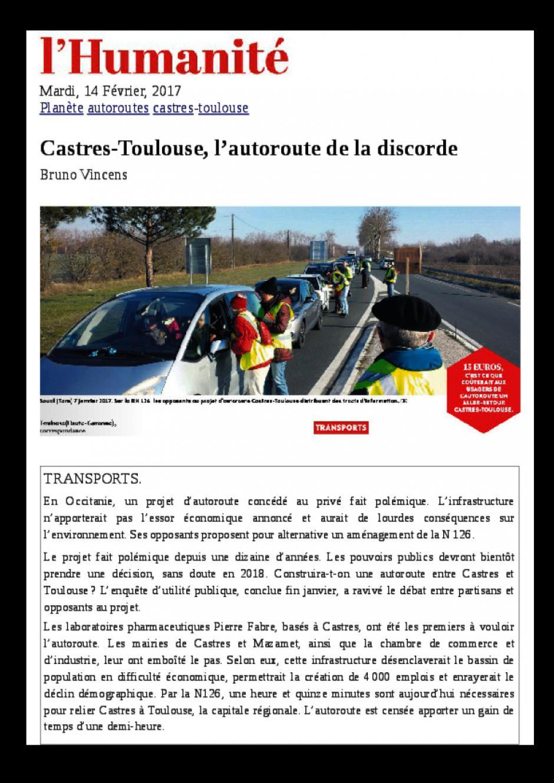 L'Humanité. Castres-Toulouse. L'autoroute de la discorde. Bruno Vincens.