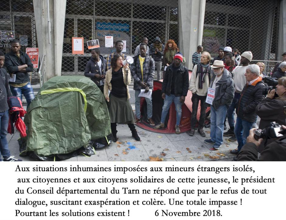 Le Conseil départemental du Tarn, les mineurs étrangers et les actrices et acteurs de la solidarité.