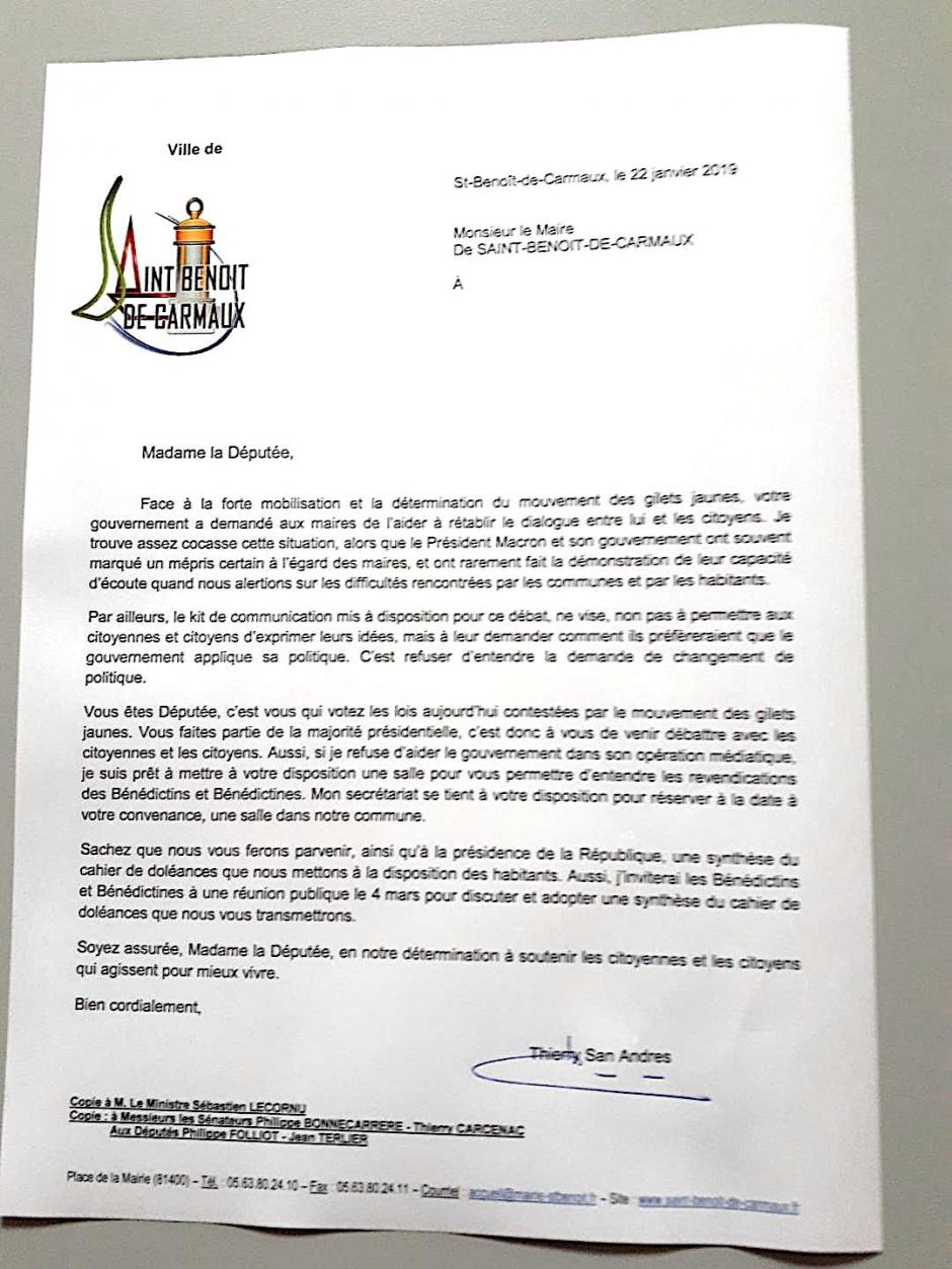 Lettre du maire de Saint-Benoît de Carmaux à la députée sur le grand débat national.