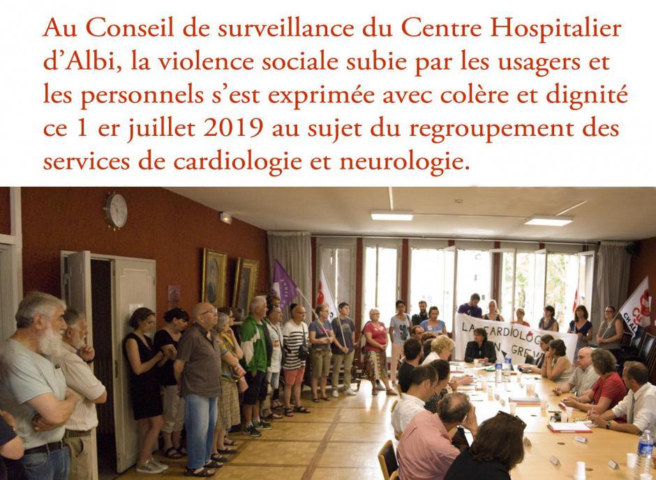 CENTRE HOSPITALIER D'ALBI: la violence sociale combattue par les usagers et les personnels.