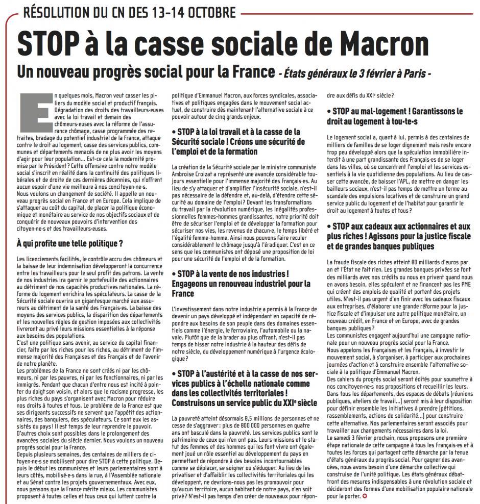 Stop à la casse sociale de Macron, un nouveau progrès social pour la France - Résolution du Conseil national du PCF des 13 et 14 octobre 2017