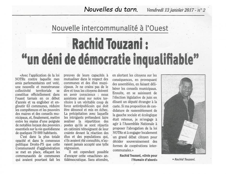 Communautés d'Agglo et Loi Notre. Les Nouvelles du Tarn. 13.01.17